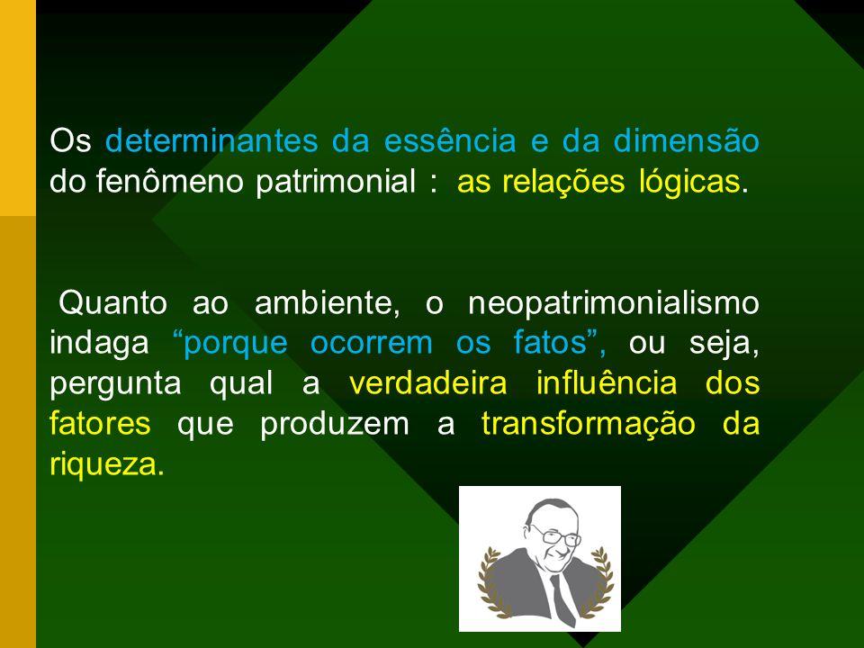 Os determinantes da essência e da dimensão do fenômeno patrimonial : as relações lógicas.