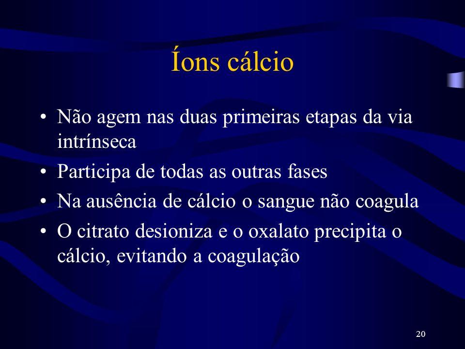Íons cálcio Não agem nas duas primeiras etapas da via intrínseca