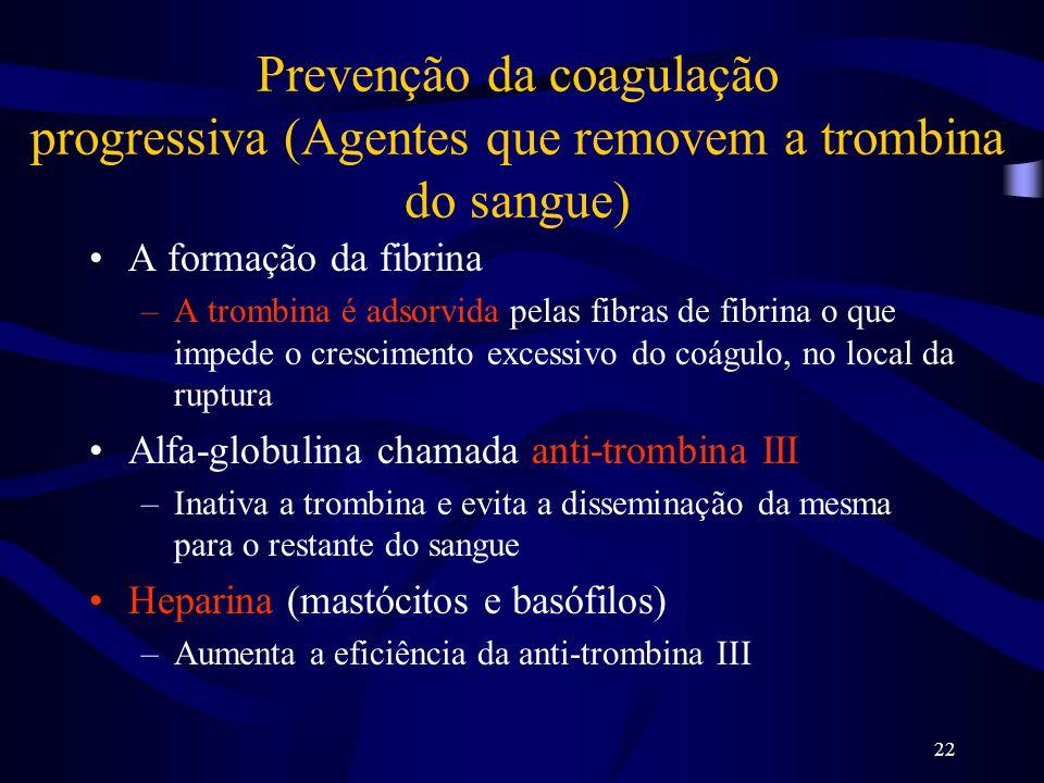 Prevenção da coagulação progressiva (Agentes que removem a trombina do sangue)