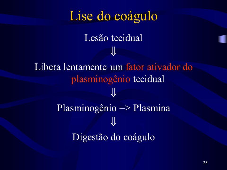Lise do coágulo Lesão tecidual 