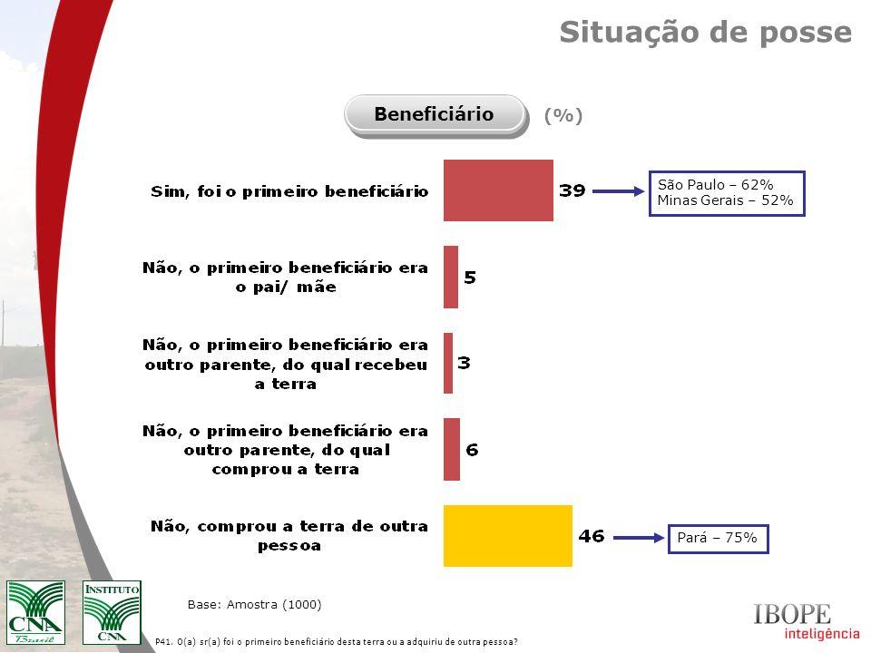 Situação de posse Beneficiário (%) São Paulo – 62% Minas Gerais – 52%