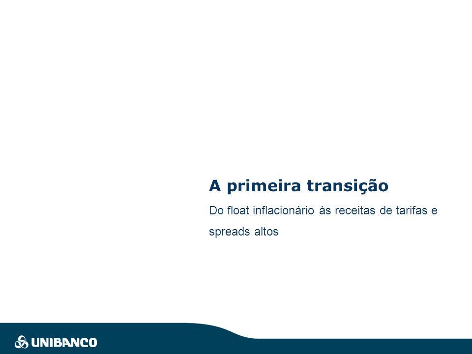 A primeira transição Do float inflacionário às receitas de tarifas e spreads altos