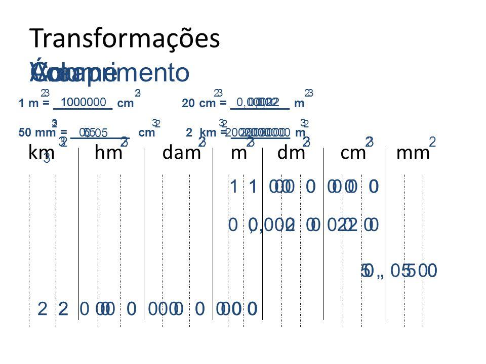 Transformações Área Volume Comprimento km hm dam m dm cm mm 1 0 0