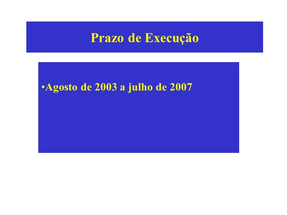 Prazo de Execução Agosto de 2003 a julho de 2007