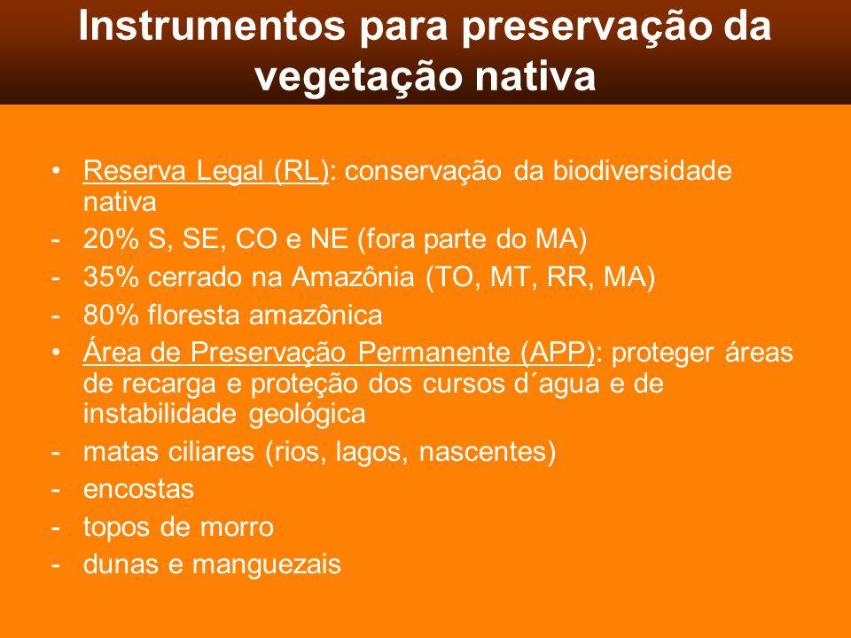 Instrumentos para preservação da vegetação nativa