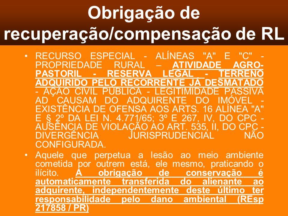 Obrigação de recuperação/compensação de RL
