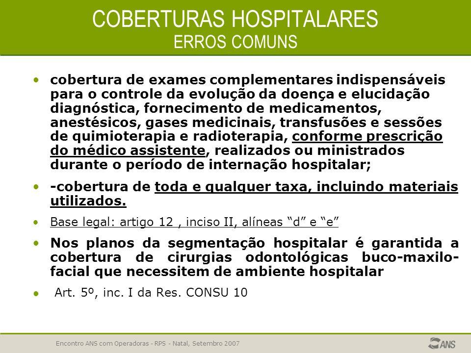 COBERTURAS HOSPITALARES ERROS COMUNS