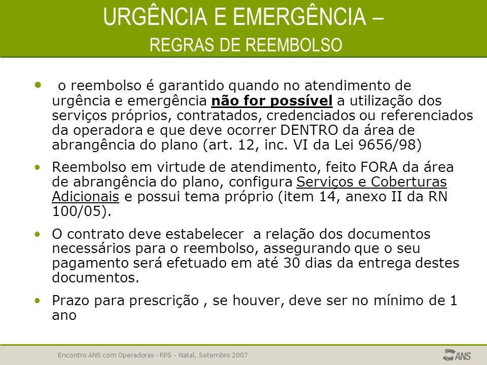URGÊNCIA E EMERGÊNCIA – REGRAS DE REEMBOLSO