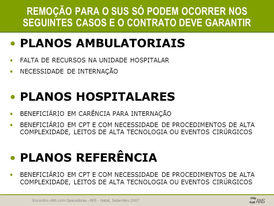 PLANOS AMBULATORIAIS PLANOS HOSPITALARES PLANOS REFERÊNCIA