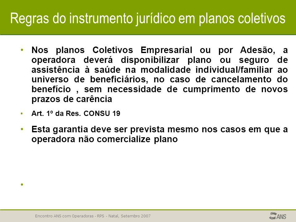 Regras do instrumento jurídico em planos coletivos