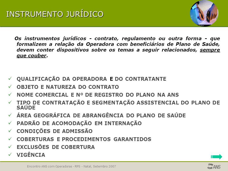 INSTRUMENTO JURÍDICO QUALIFICAÇÃO DA OPERADORA E DO CONTRATANTE