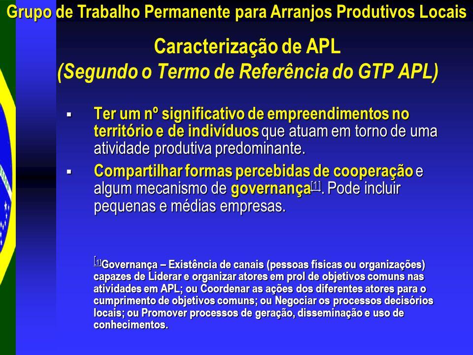 Caracterização de APL (Segundo o Termo de Referência do GTP APL)
