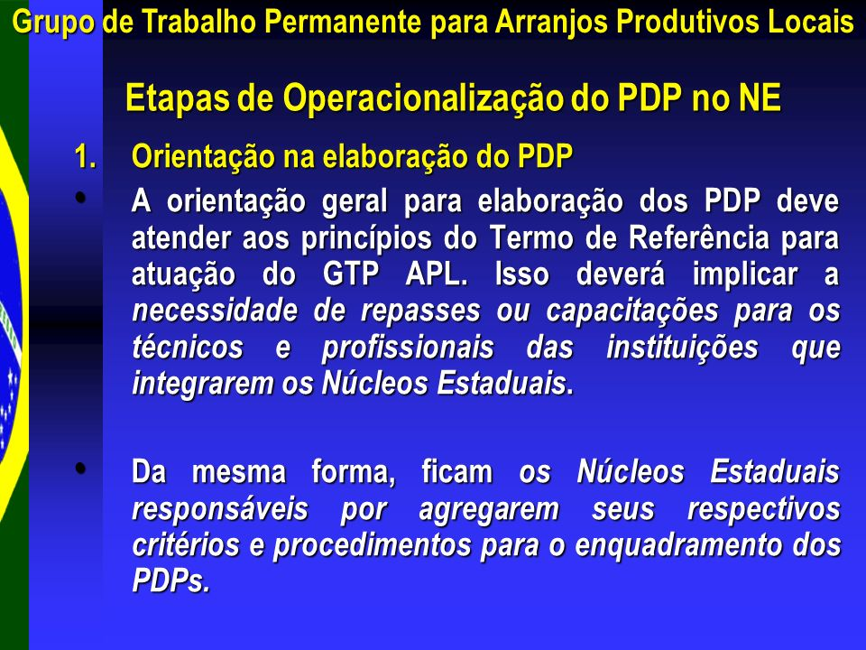 Etapas de Operacionalização do PDP no NE