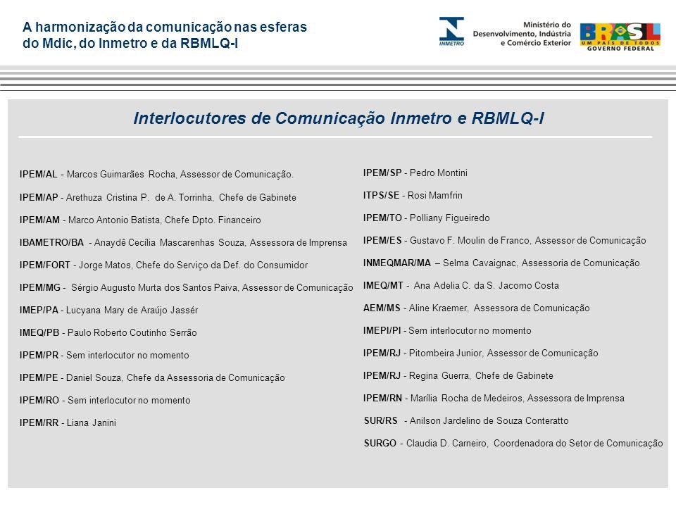 Interlocutores de Comunicação Inmetro e RBMLQ-I