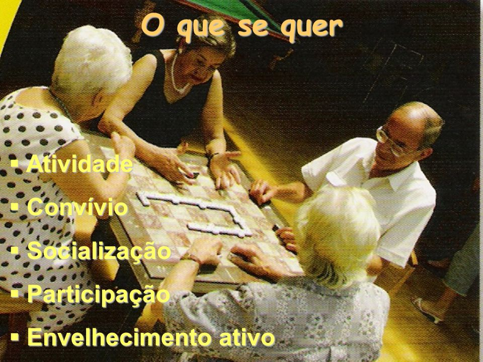 O que se quer Atividade Convívio Socialização Participação