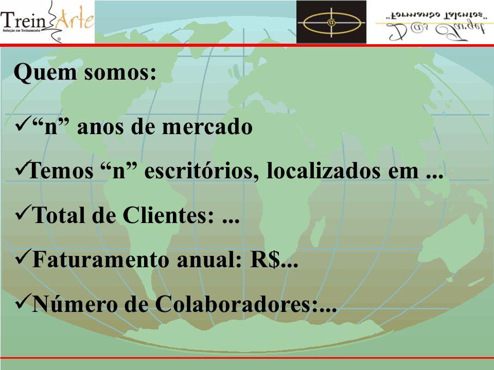 Quem somos: n anos de mercado. Temos n escritórios, localizados em ... Total de Clientes: ... Faturamento anual: R$...