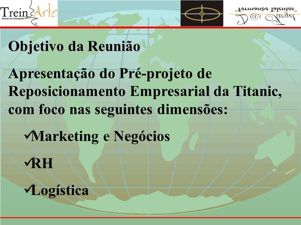 Objetivo da ReuniãoApresentação do Pré-projeto de Reposicionamento Empresarial da Titanic, com foco nas seguintes dimensões:
