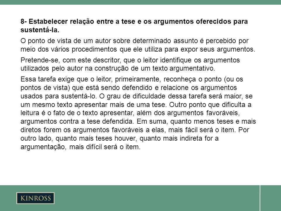 8- Estabelecer relação entre a tese e os argumentos oferecidos para sustentá-la.