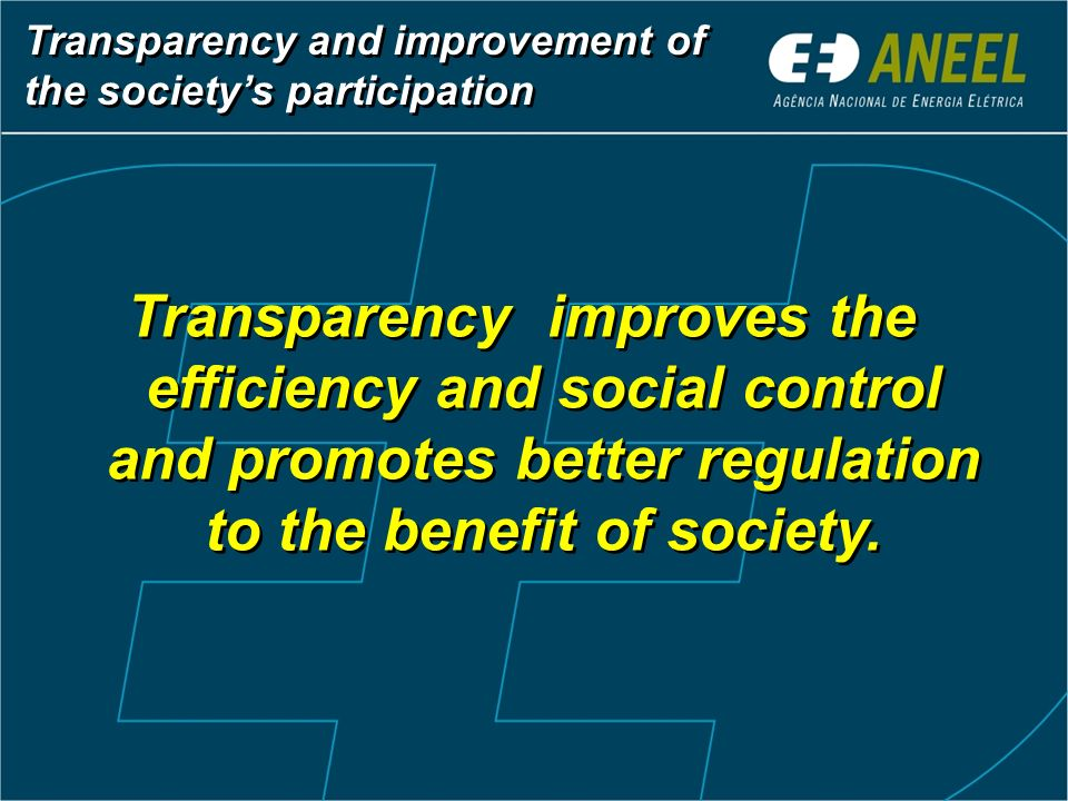 Transparency and improvement of the society's participation