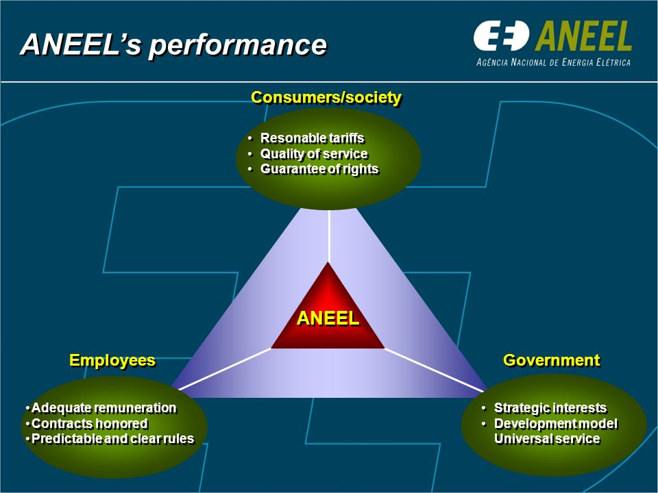 ANEEL's performance ANEEL Consumers/society Employees Government