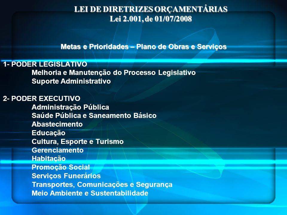 LEI DE DIRETRIZES ORÇAMENTÁRIAS Lei 2.001, de 01/07/2008