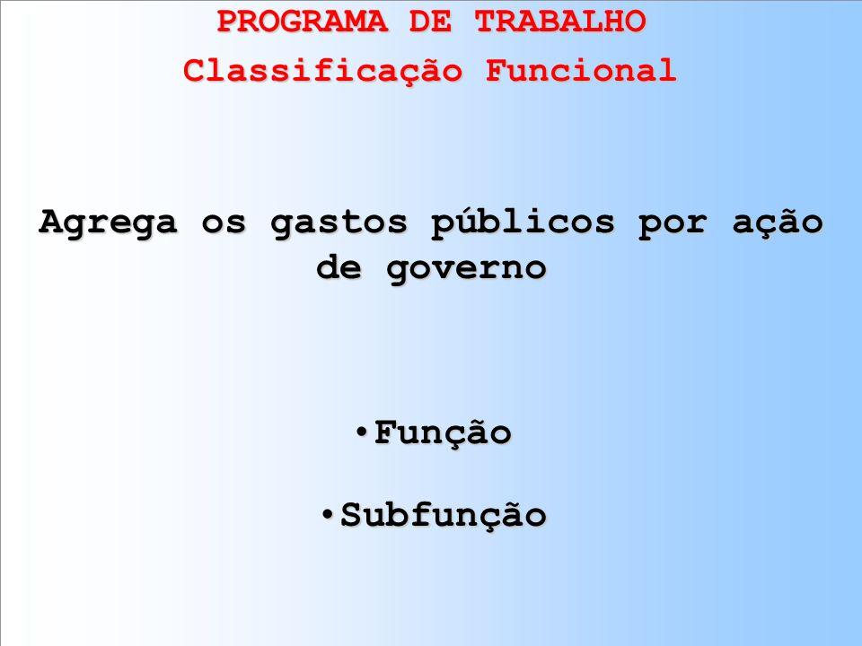 Classificação Funcional Agrega os gastos públicos por ação de governo