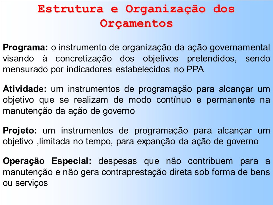 Estrutura e Organização dos Orçamentos
