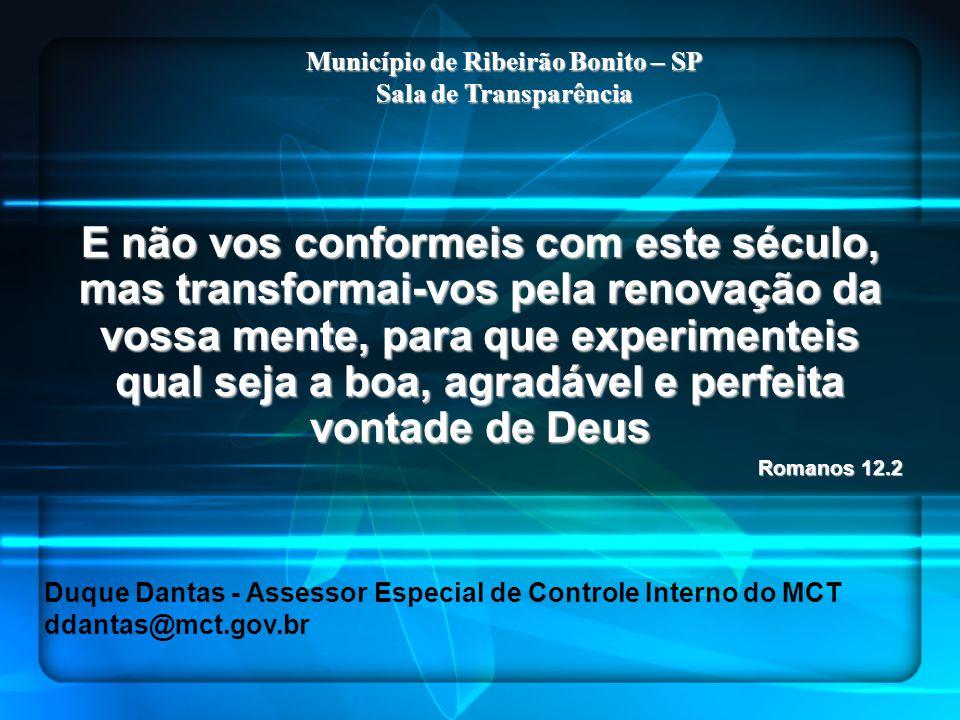 Município de Ribeirão Bonito – SP Sala de Transparência