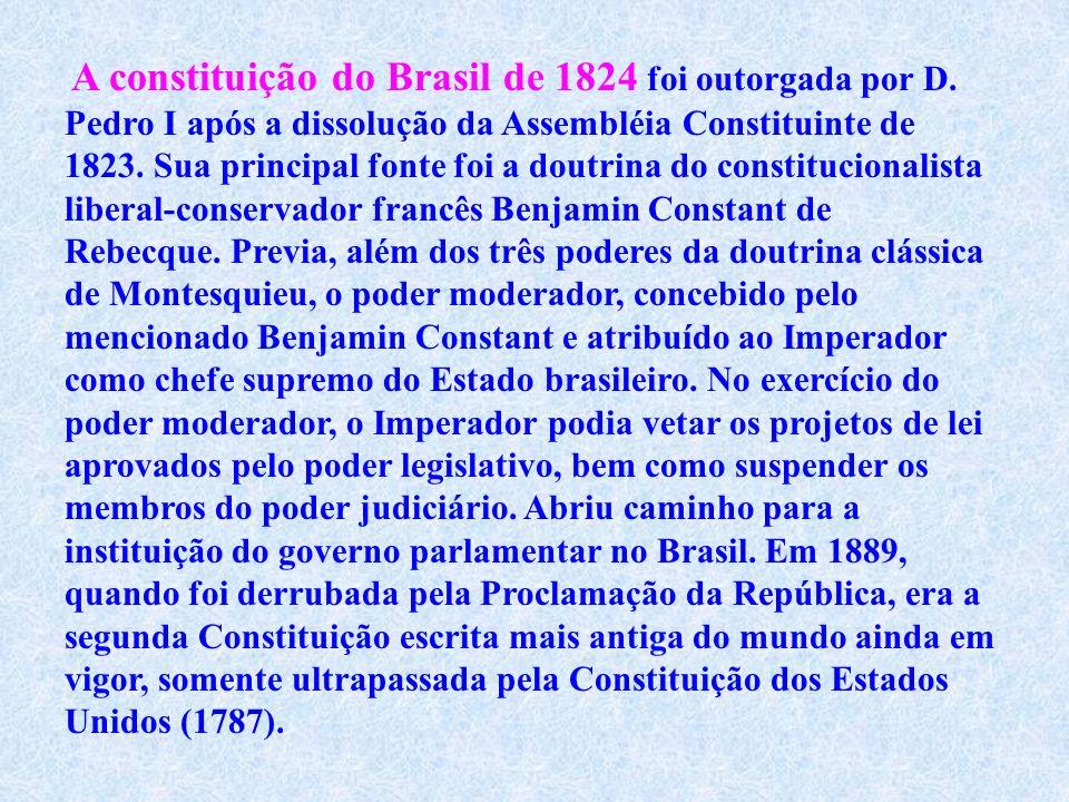 A constituição do Brasil de 1824 foi outorgada por D