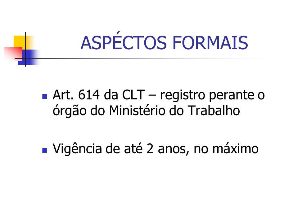 ASPÉCTOS FORMAIS Art. 614 da CLT – registro perante o órgão do Ministério do Trabalho.