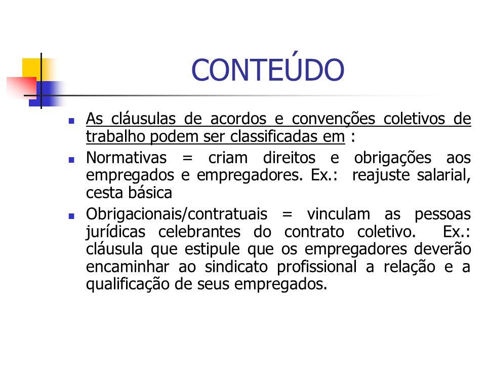 CONTEÚDO As cláusulas de acordos e convenções coletivos de trabalho podem ser classificadas em :