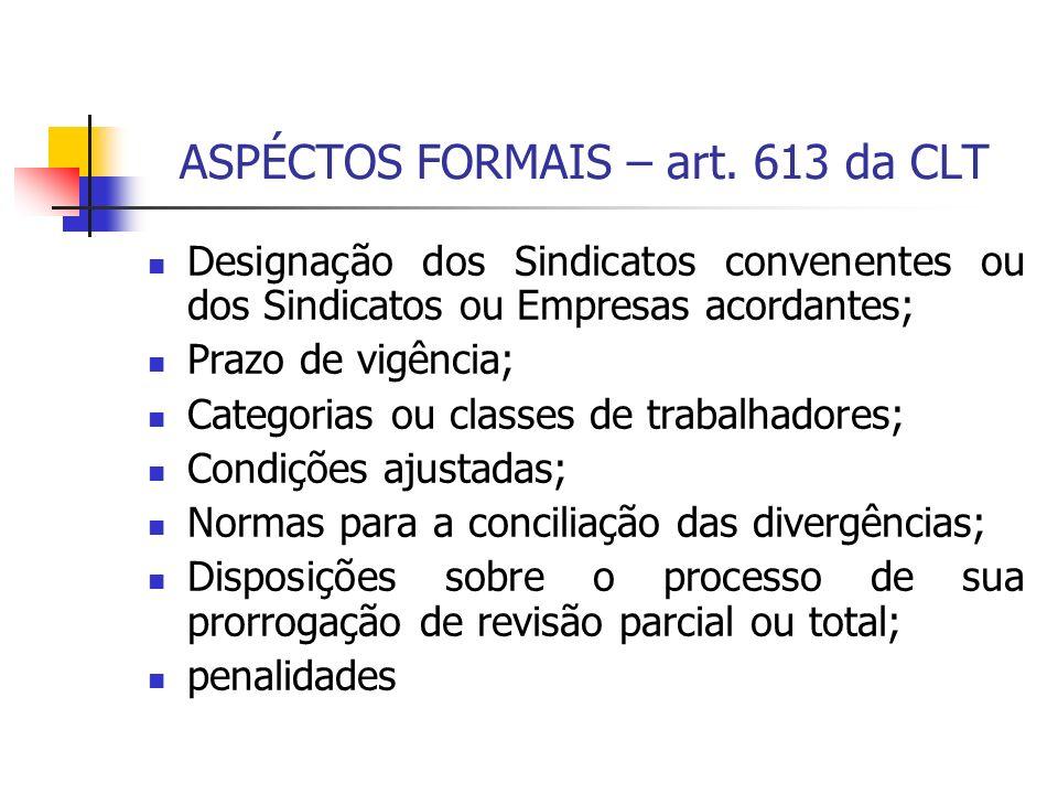ASPÉCTOS FORMAIS – art. 613 da CLT