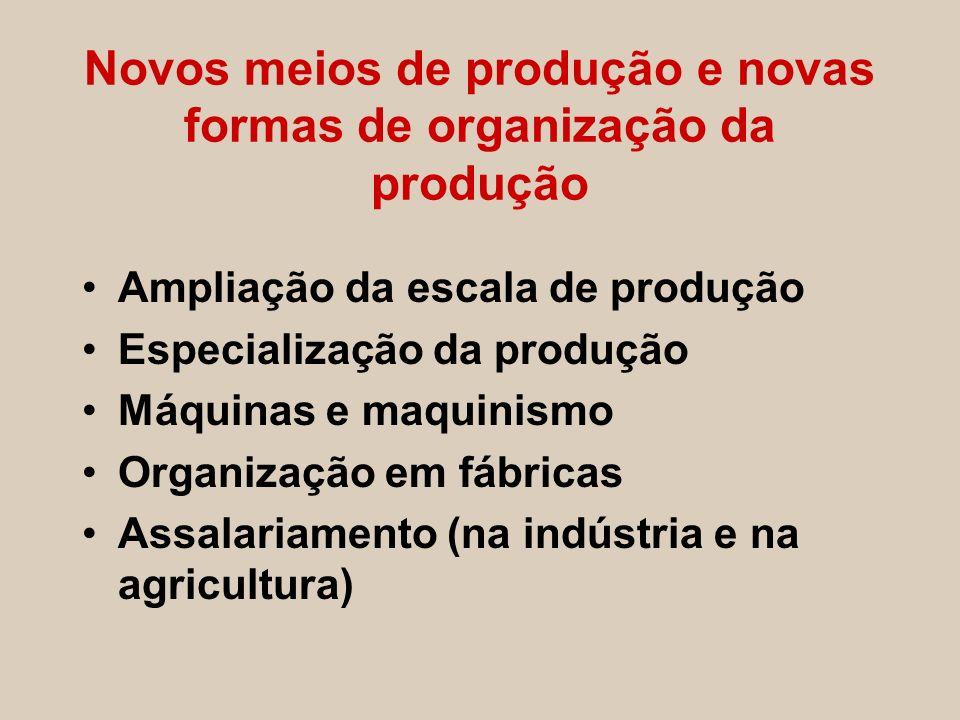 Novos meios de produção e novas formas de organização da produção