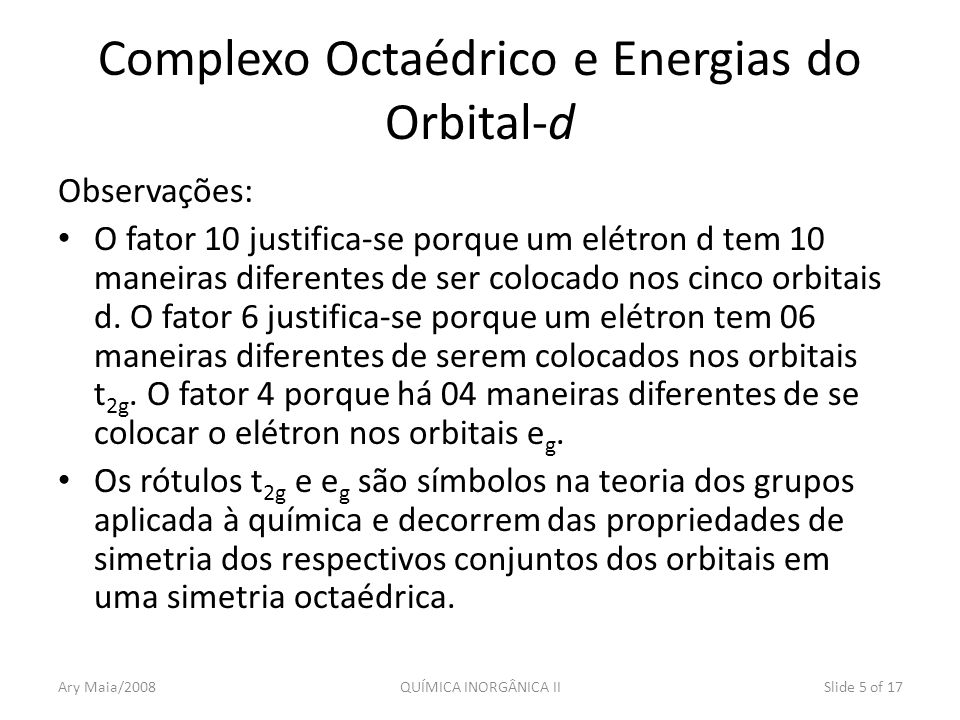 Complexo Octaédrico e Energias do Orbital-d