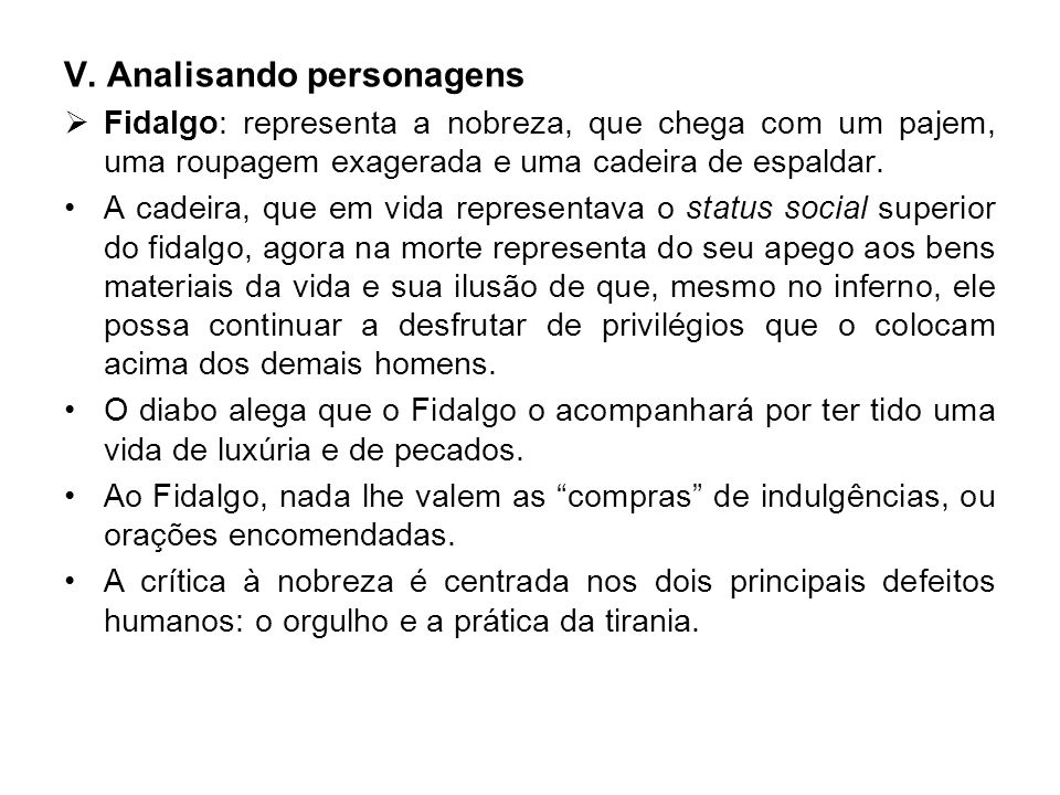 V. Analisando personagens