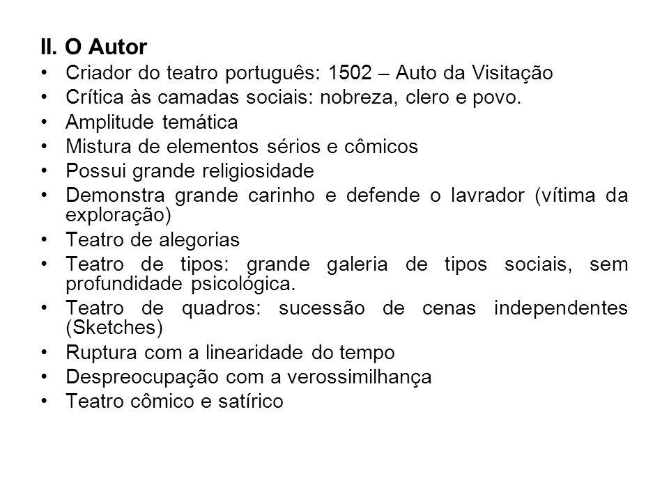 II. O Autor Criador do teatro português: 1502 – Auto da Visitação