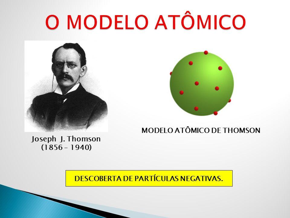 MODELO ATÔMICO DE THOMSON DESCOBERTA DE PARTÍCULAS NEGATIVAS.