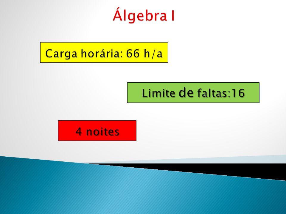 Álgebra I Carga horária: 66 h/a Limite de faltas:16 4 noites