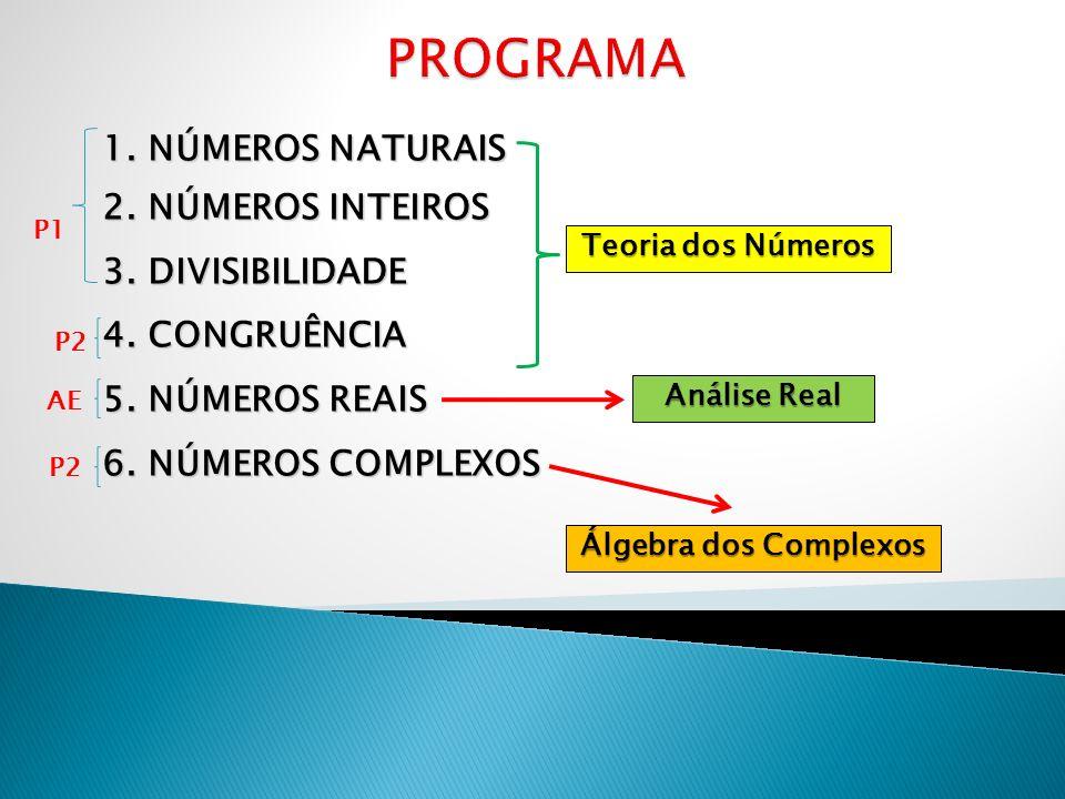 PROGRAMA 1. NÚMEROS NATURAIS 2. NÚMEROS INTEIROS 3. DIVISIBILIDADE