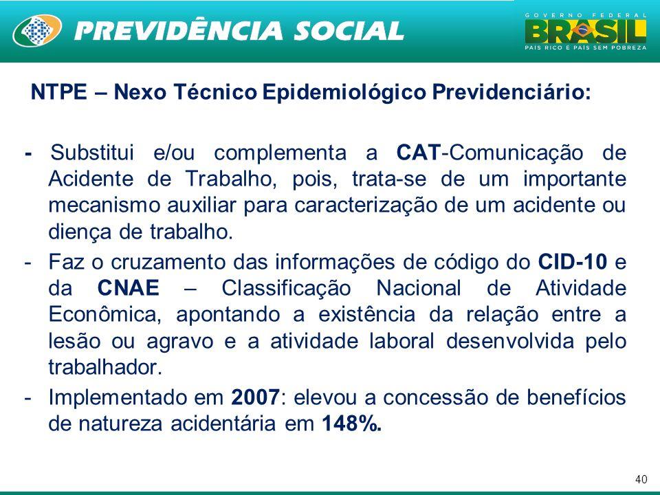 . NTPE – Nexo Técnico Epidemiológico Previdenciário: