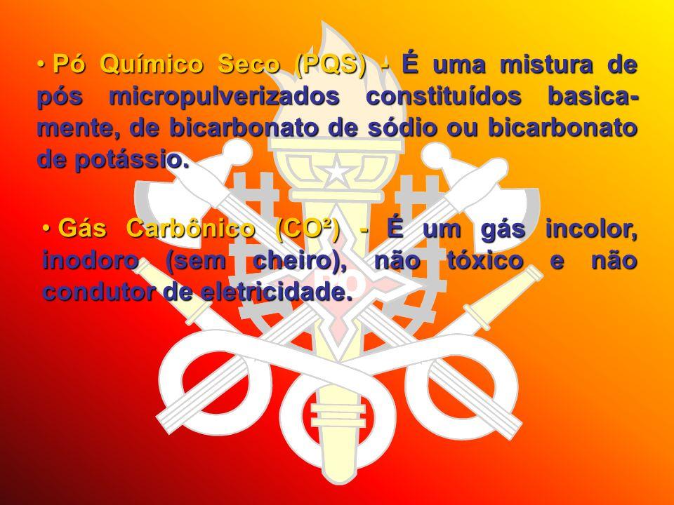 Pó Químico Seco (PQS) - É uma mistura de pós micropulverizados constituídos basica-mente, de bicarbonato de sódio ou bicarbonato de potássio.