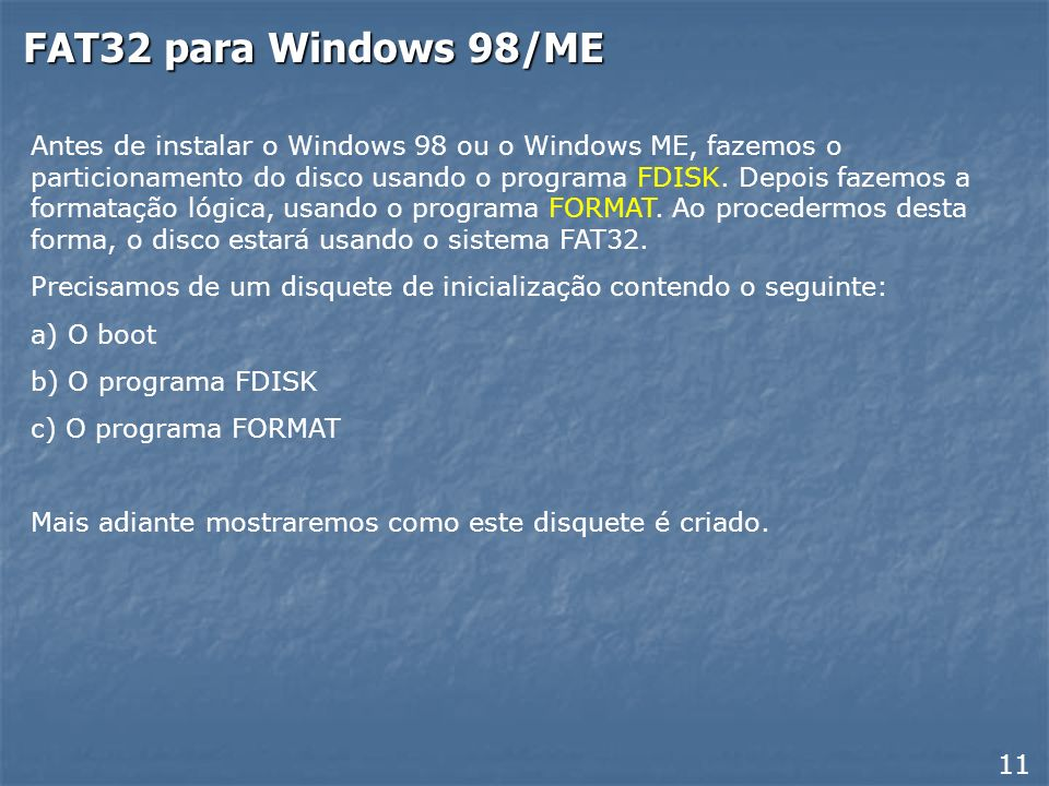 FAT32 para Windows 98/ME