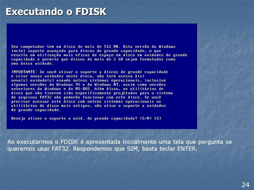 Executando o FDISK