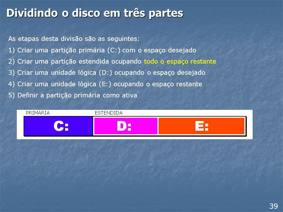 Dividindo o disco em três partes