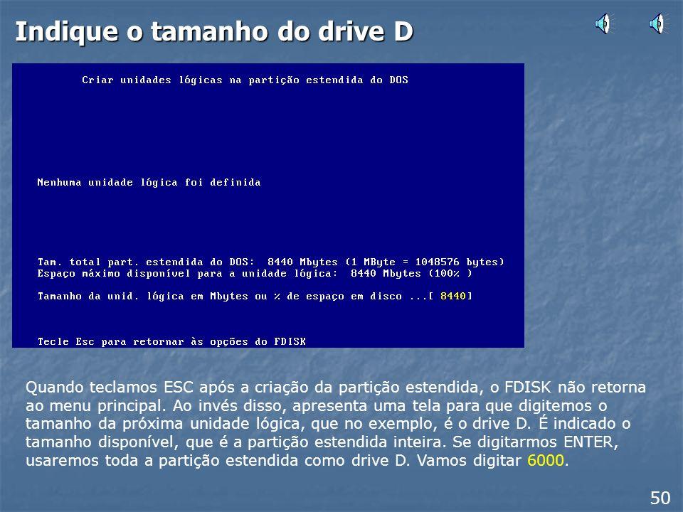 Indique o tamanho do drive D