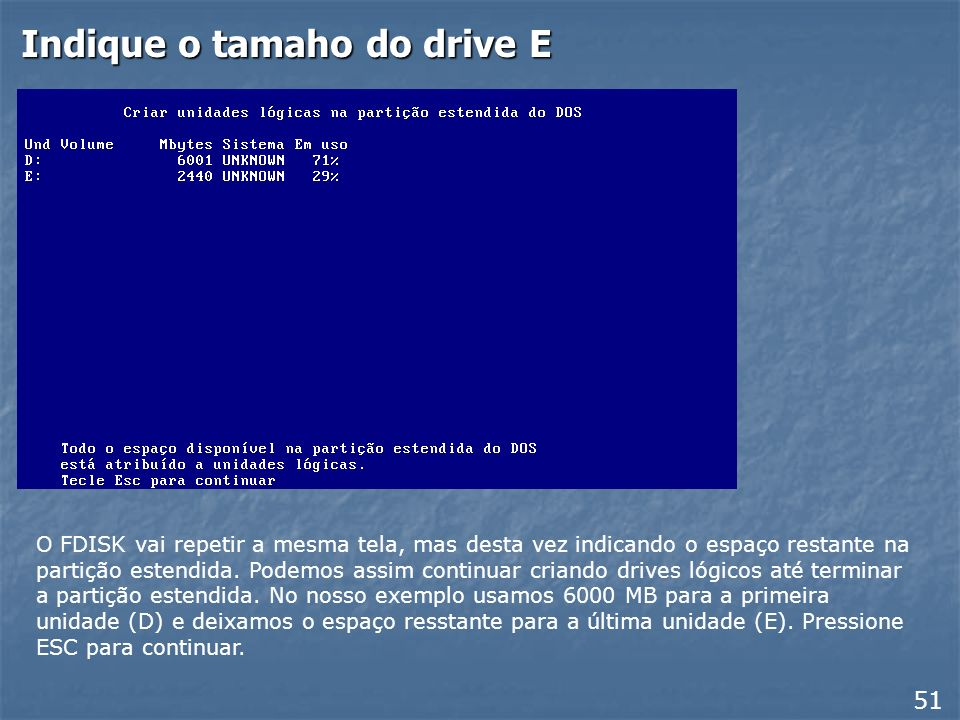 Indique o tamaho do drive E