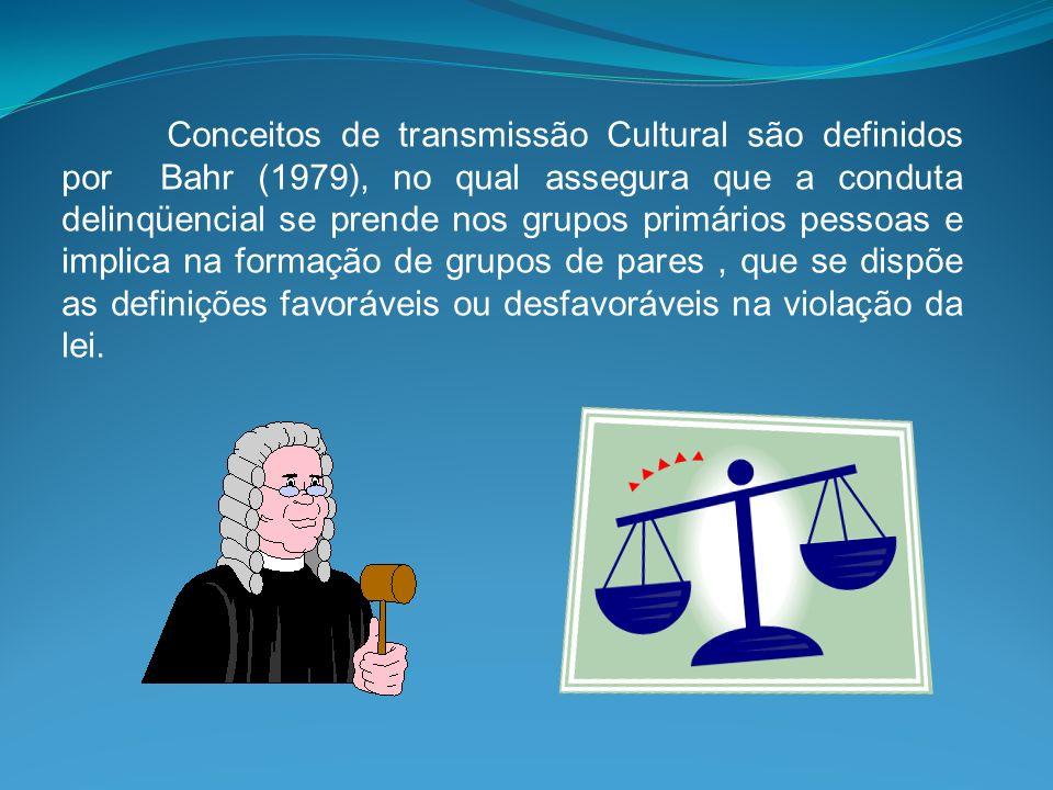 Conceitos de transmissão Cultural são definidos por Bahr (1979), no qual assegura que a conduta delinqüencial se prende nos grupos primários pessoas e implica na formação de grupos de pares , que se dispõe as definições favoráveis ou desfavoráveis na violação da lei.