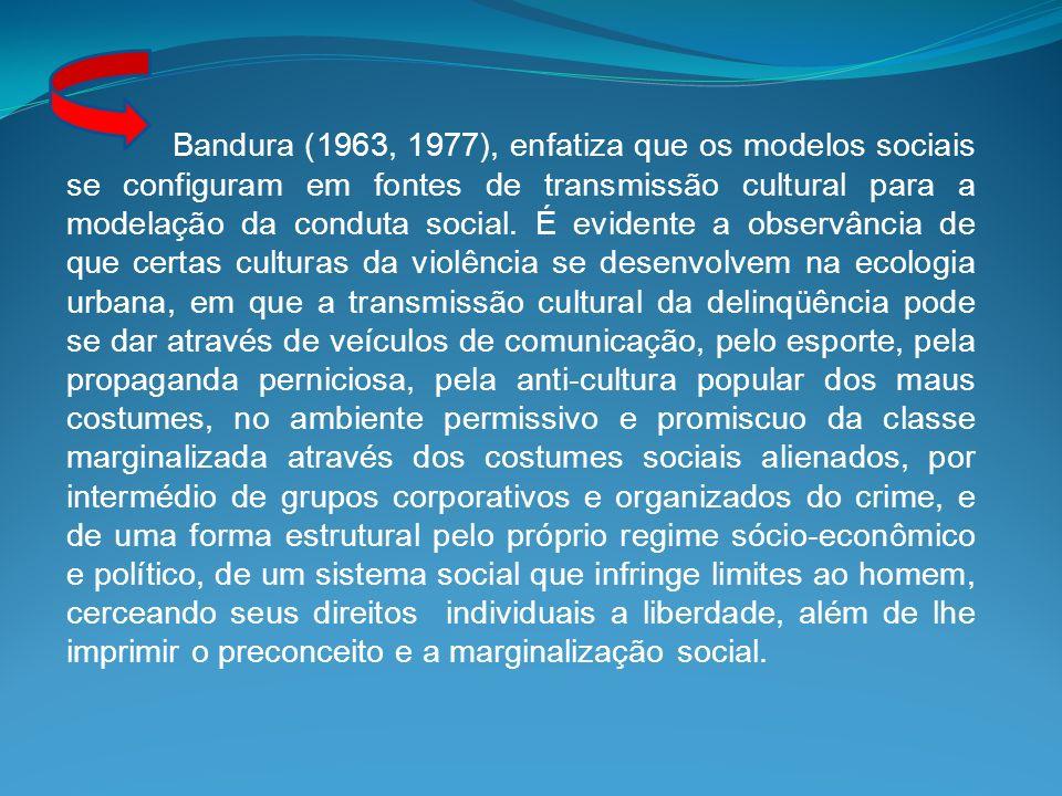 Bandura (1963, 1977), enfatiza que os modelos sociais se configuram em fontes de transmissão cultural para a modelação da conduta social.