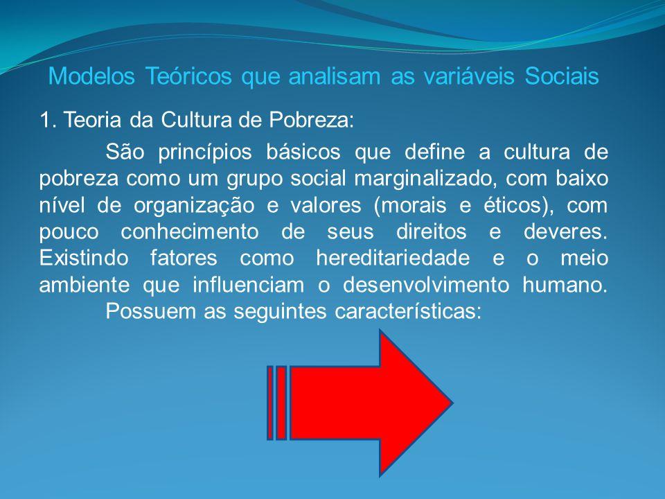 Modelos Teóricos que analisam as variáveis Sociais