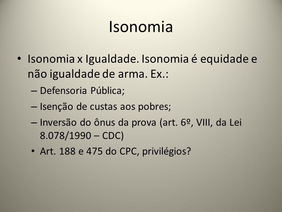 Isonomia Isonomia x Igualdade. Isonomia é equidade e não igualdade de arma. Ex.: Defensoria Pública;
